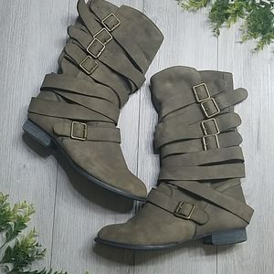 JUSTFAB Suede  Boots w/ Buckle Accents